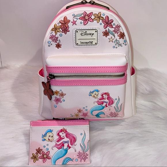 Little Mermaid Floral Backpack & Cardholder NWT